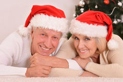 Amusing old couple at Christmas Stock Images
