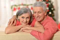 Amusing old couple at Christmas. Amusing old couple wearing Christmas holiday caps stock photography