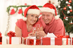 Amusing old couple at Christmas. Amusing old couple wearing Christmas holiday caps stock images