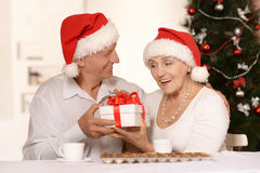 Amusing old couple at Christmas. Amusing old couple wearing Christmas holiday caps with present royalty free stock photo