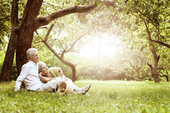 Amusing old couple on picnic Stock Image