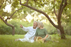Amusing old couple on picnic. Portrait of Amusing old couple on picnic royalty free stock image