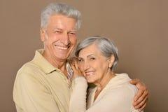 Amusing old couple. Portrait of amusing happy smiling old couple stock image