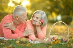 Amusing old couple. Portrait of amusing old couple on picnic royalty free stock images