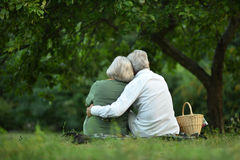 Amusing old couple in summer park. Portrait of Amusing old couple in summer park stock photo