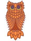 Amusing orange owl. Amusing big orange owl with geometric elements isolated on the white background, cartoon vector artwork Royalty Free Stock Image