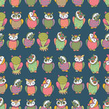 Amusing owls seamless pattern Royalty Free Stock Image