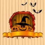 Amusing pattern with pumpkins on Halloween Stock Photos