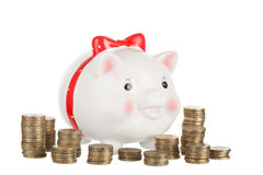 Amusing pig moneybox Royalty Free Stock Images