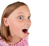 Amusing portrait on a young girl on white Stock Photos