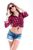 Amusing pretty young woman in sunglasses making funny duck face Royalty Free Stock Photo