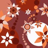 Amusing retro floral illustration. Warm color scheme stock illustration