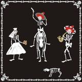 Amusing skeletons on wedding. Amusing dancing skeletons on wedding Stock Image