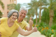 Amusing smiling senior couple with thumbs up. On vacation Stock Image