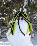Amusing snowman. A snowman with a funny hat and pink sunglasses Stock Photography
