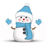 Amusing snowman dressed in blue. Against a white background stock illustration