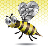 The amusing vector image of a bee. With a shade on a yellow background Stock Photography