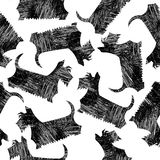 Amusing vector Scottish Terriers seamless pattern Stock Images