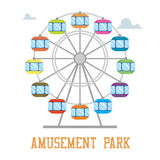 Amuzement park concept. Ferris wheel isolated Stock Photos