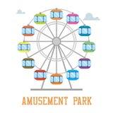 Amuzement park concept. Ferris wheel isolated. Flat design Stock Photos