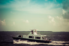 Boat Ocean Water Belize Travel. Boat off the coast of Belize stock images