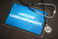 Amyloid cardiomyopathy (heart disorder) diagnosis medical concept on tablet screen with stethoscope.  royalty free stock image