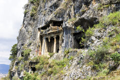 Amynthas rock tombs of Telmessos Ancient City in Fethiye, Turkey Royalty Free Stock Photo