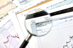 AMZN ticker candlestick graphs Royalty Free Stock Image