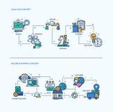 Análise, composições em linha do conceito do negócio dos ícones da compra ajustadas Imagens de Stock Royalty Free