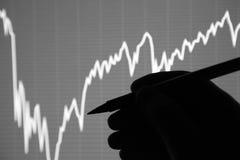 A análise da carta dos dados na exposição Imagens de Stock