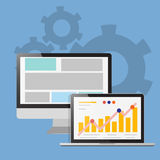 Análise da ilustração da relação dos dados da site Fotografia de Stock