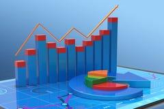 análise da rendição 3D dos dados financeiros nas cartas - vista geral gráfica moderna das estatísticas ilustração stock