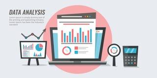 Análise de dados - informações de marketing - conceito do relatório da auditoria do Web site Ilustração analítica do vetor do pro ilustração stock