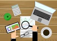 Análise de dados, vista geral dos gráficos das estatísticas Imagens de Stock