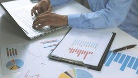 Análise de negócio - equipe o trabalho com cartas dos dados financeiros vídeos de arquivo