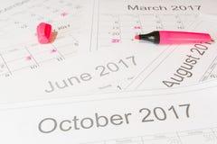 Análise de um calendário imagem de stock