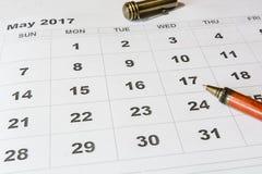 Análise de um calendário maio fotografia de stock royalty free