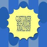 Análise do comportamento do cliente da escrita do texto da escrita Conceito que significa o comportamento de compra dos consumido ilustração do vetor