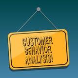 Análise do comportamento do cliente do texto da escrita Conceito que significa o comportamento de compra dos consumidores que os  ilustração stock