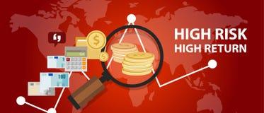 Análise do perfil do investimento do retorno alto do risco elevado do dinheiro ilustração stock
