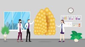 Análise humana do controle dos cuidados médicos do thymus que identifica por povos do doutor no hospital - ilustração do vetor