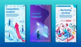 Análisis competitivo y servicios de márketing fijados ilustración del vector