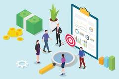 Análisis 3d isométrico de la investigación financiera con la reunión de la gente del equipo del negocio y analizar el informe fin libre illustration