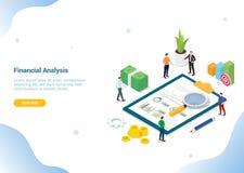 Análisis 3d isométrico de la investigación financiera para homepage o la bandera - vector del aterrizaje de la plantilla de la pá stock de ilustración