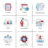 Análisis de datos de la auditoría, seminario Team Timing Conference Icon Set de los recursos humanos Imagen de archivo