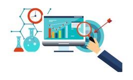 Análisis de negocio, gestión de negocio, ejemplo del vector del márketing de Internet ilustración del vector