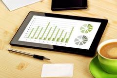 Análisis de negocio, tableta de Digitaces con las cartas financieras Fotografía de archivo