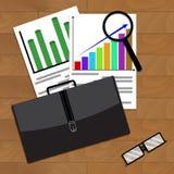 Análisis del desarrollo económico en negocio ilustración del vector