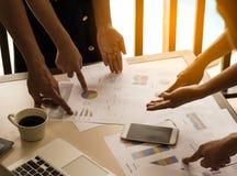 Análisis del equipo del negocio con el gráfico financiero en la oficina, lugar de trabajo fotos de archivo libres de regalías