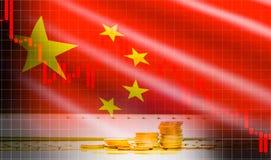 Análisis del intercambio del mercado de acción del fondo del gráfico de la palmatoria de la bandera de China ilustración del vector
